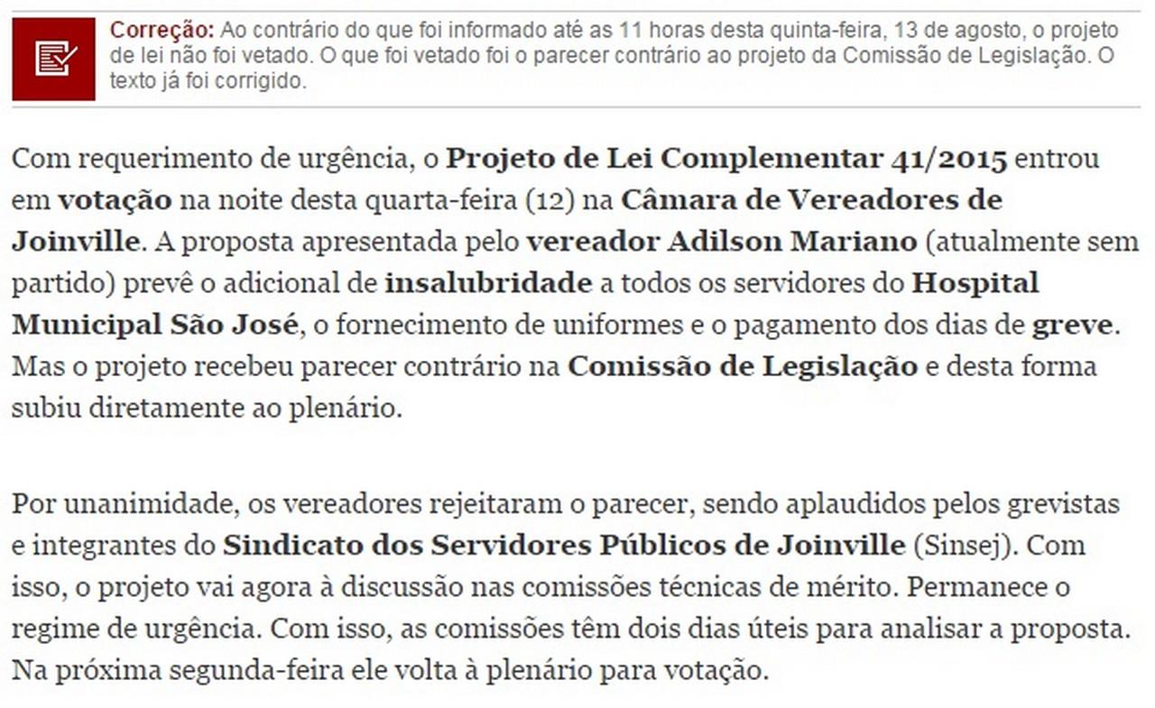 Informação foi corrigida no www.an.com.br