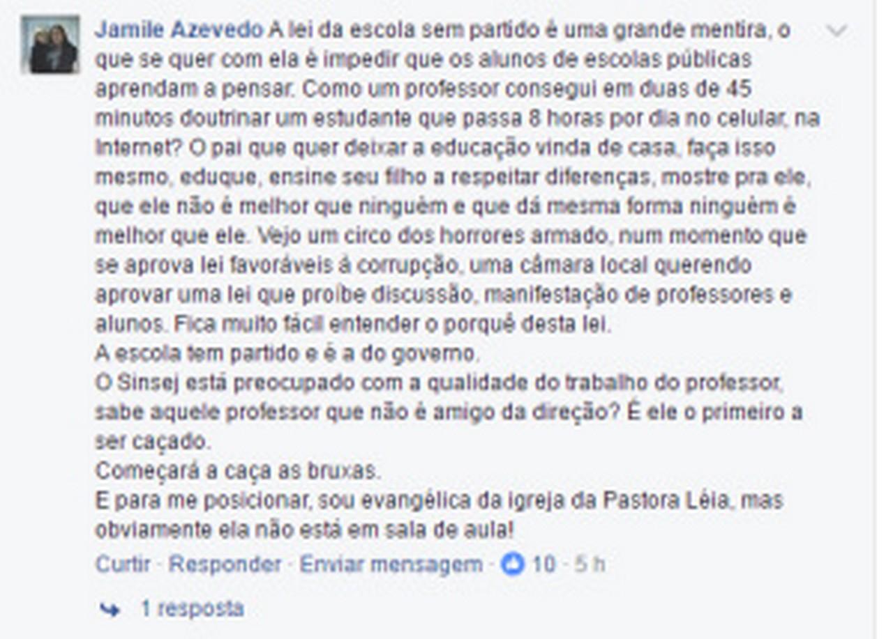 Comentário de professora em postagem do Sinsej em redes sociais sobre Lei da Mordaça