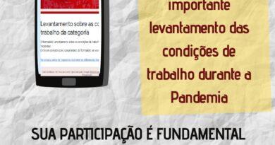LEVANTAMENTO SOBRE AS CONDIÇÕES DE TRABALHO DA CATEGORIA DURANTE A PANDEMIA