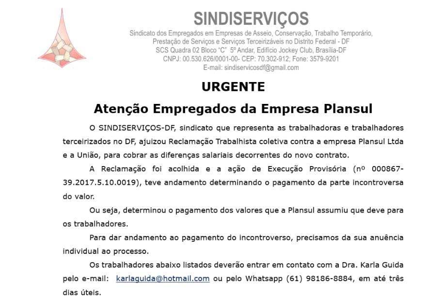 URGENTE – Atenção Empregados da Empresa Plansul