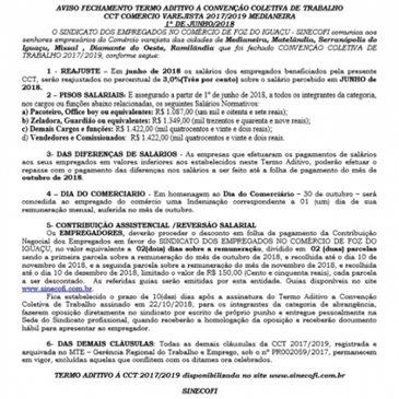 AVISO DE FECHAMENTO DE CCT VAREJISTA DE MEDIANEIRA E REGIAO