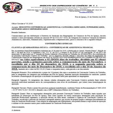 REDUÇÃO DE VALOR TAXA ASSISTENCIAL – MERCADOS
