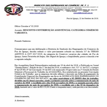 REDUÇÃO DE VALOR TAXA ASSISTENCIAL COMERCIO VAREJISTA
