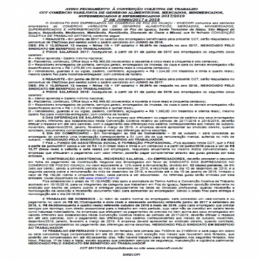 AVISO DE FECHAMENTO DE CCT VAREJISTA DE GEN. ALIM. MERCADOS, MINIMERCADOS, SUPERMERCADOS E HIPERMERC