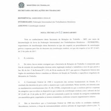 FETRHOTEL ABRE CAMINHO PARA APROVAÇÃO EM ASSEMBLEIA DE COBRANÇA DE IMPOSTO SINDICAL