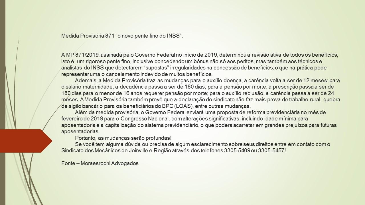 """Medida Provisória 871 """"o novo pente fino do INSS"""