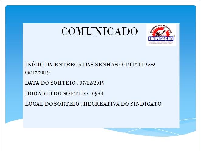 SORTEIO COLÔNIA DE FÉRIAS 2019/2020