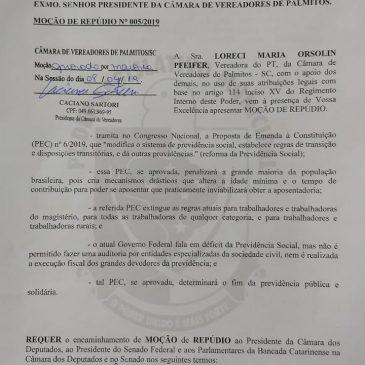 Câmara de Vereadores de Palmitos aprova Moção contra a Reforma da Previdência