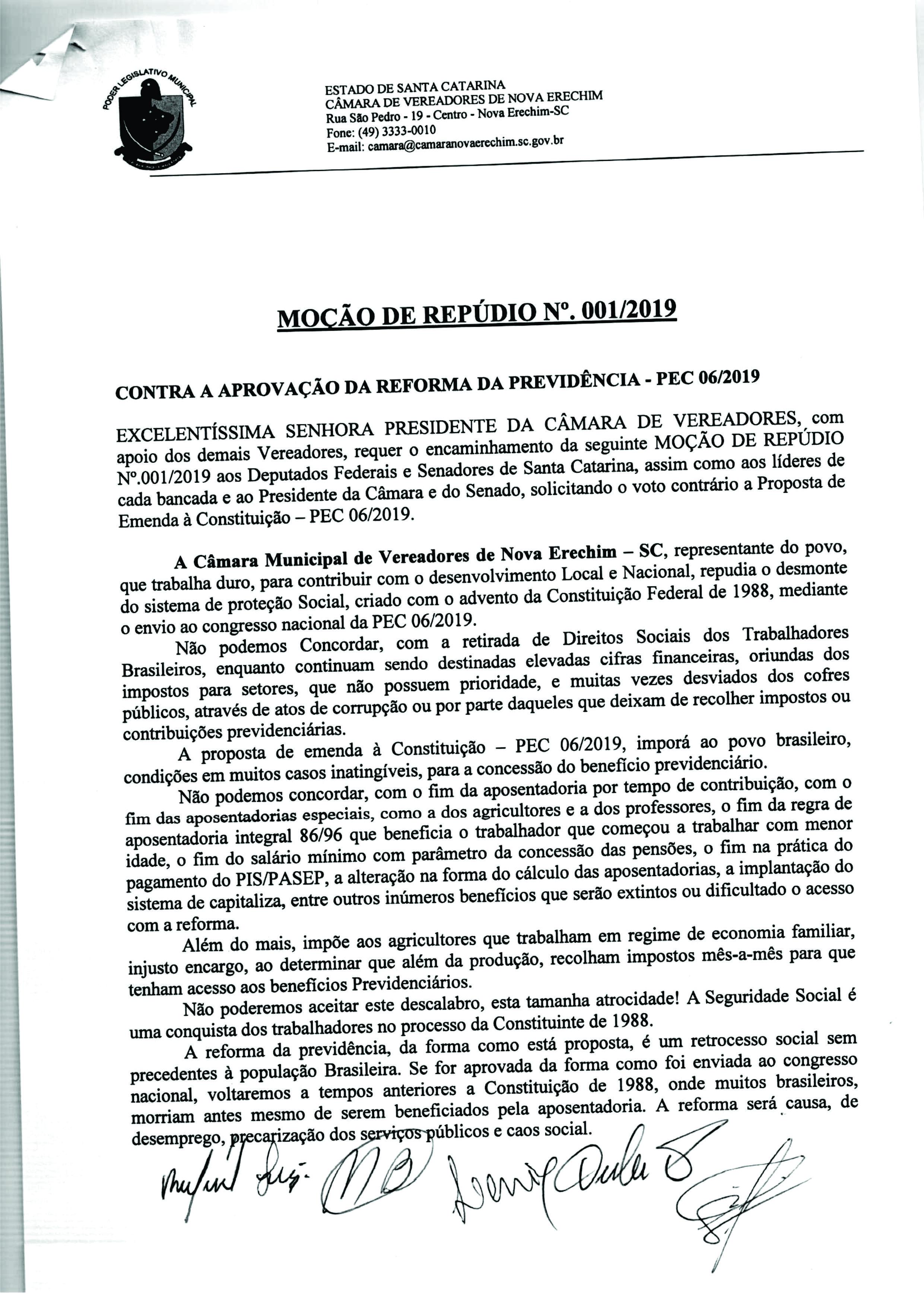 Câmara de Vereadores de Nova Erechim aprova Moção de Repúdio contra a Reforma da Previdência