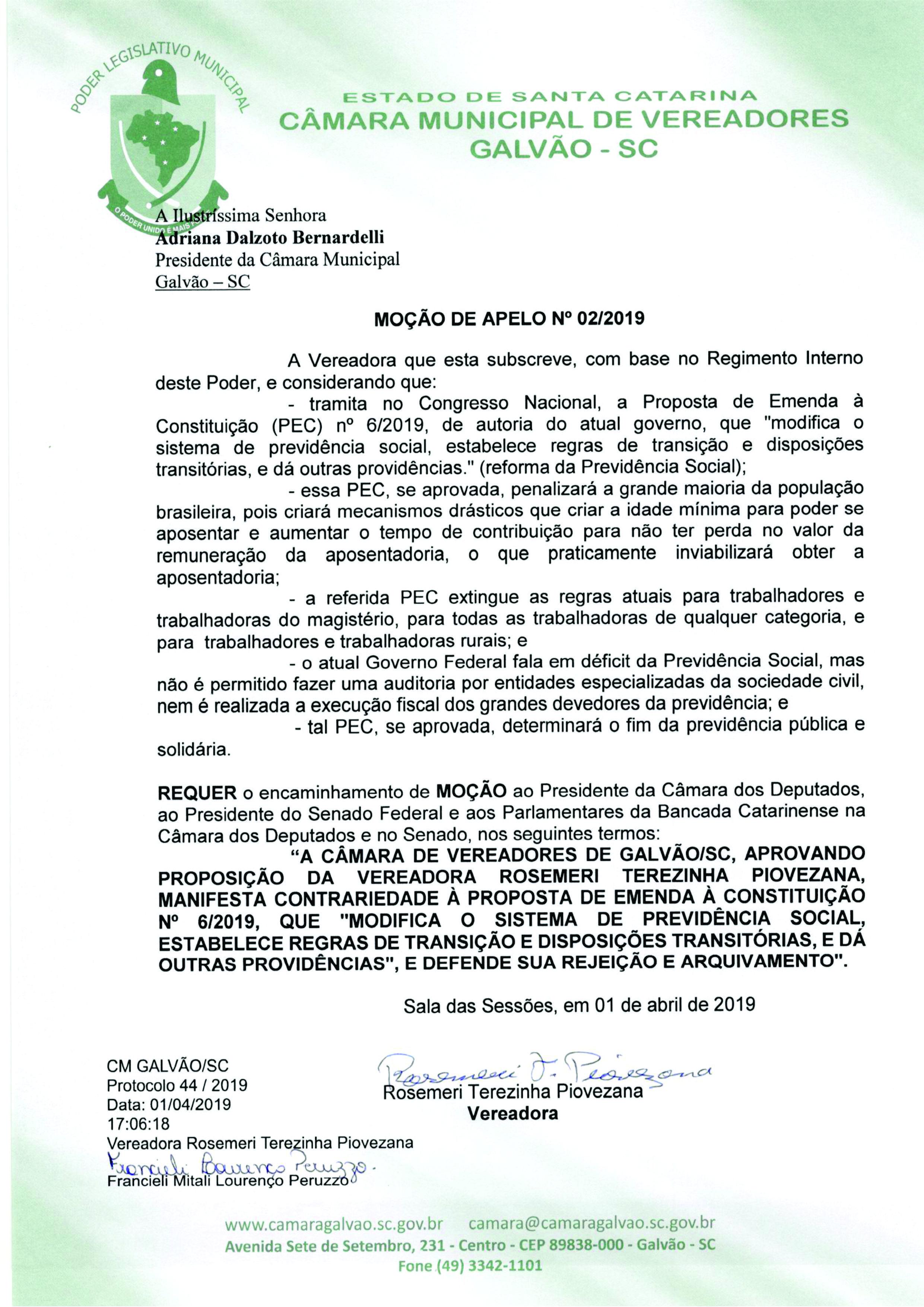 Câmara de Vereadores de Galvão aprova Moção de Apelo contra a Reforma da Previdência, por unanimidade