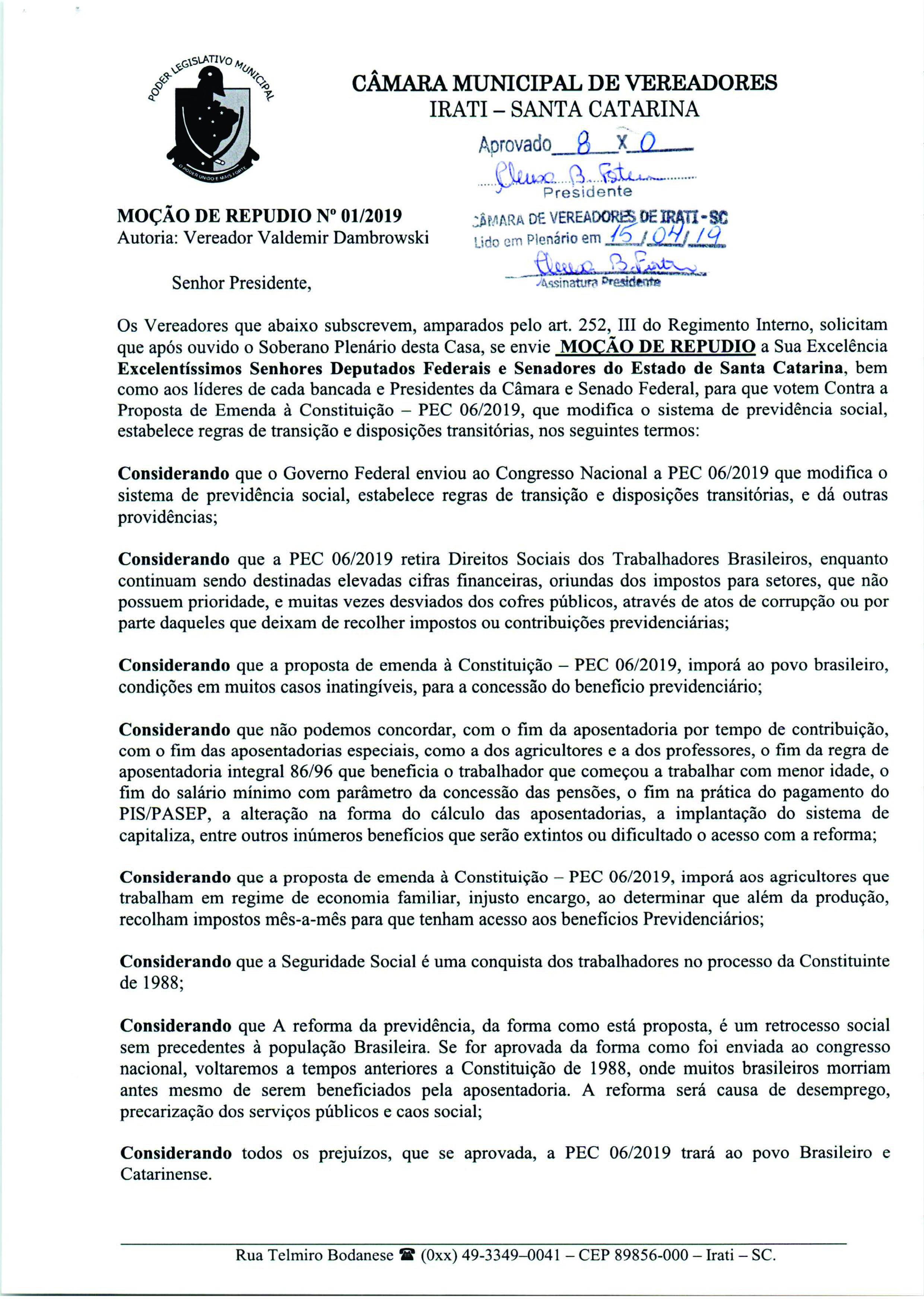 Câmara de Vereadores de Irati aprova Moção de Repúdio contra a Reforma da Previdência