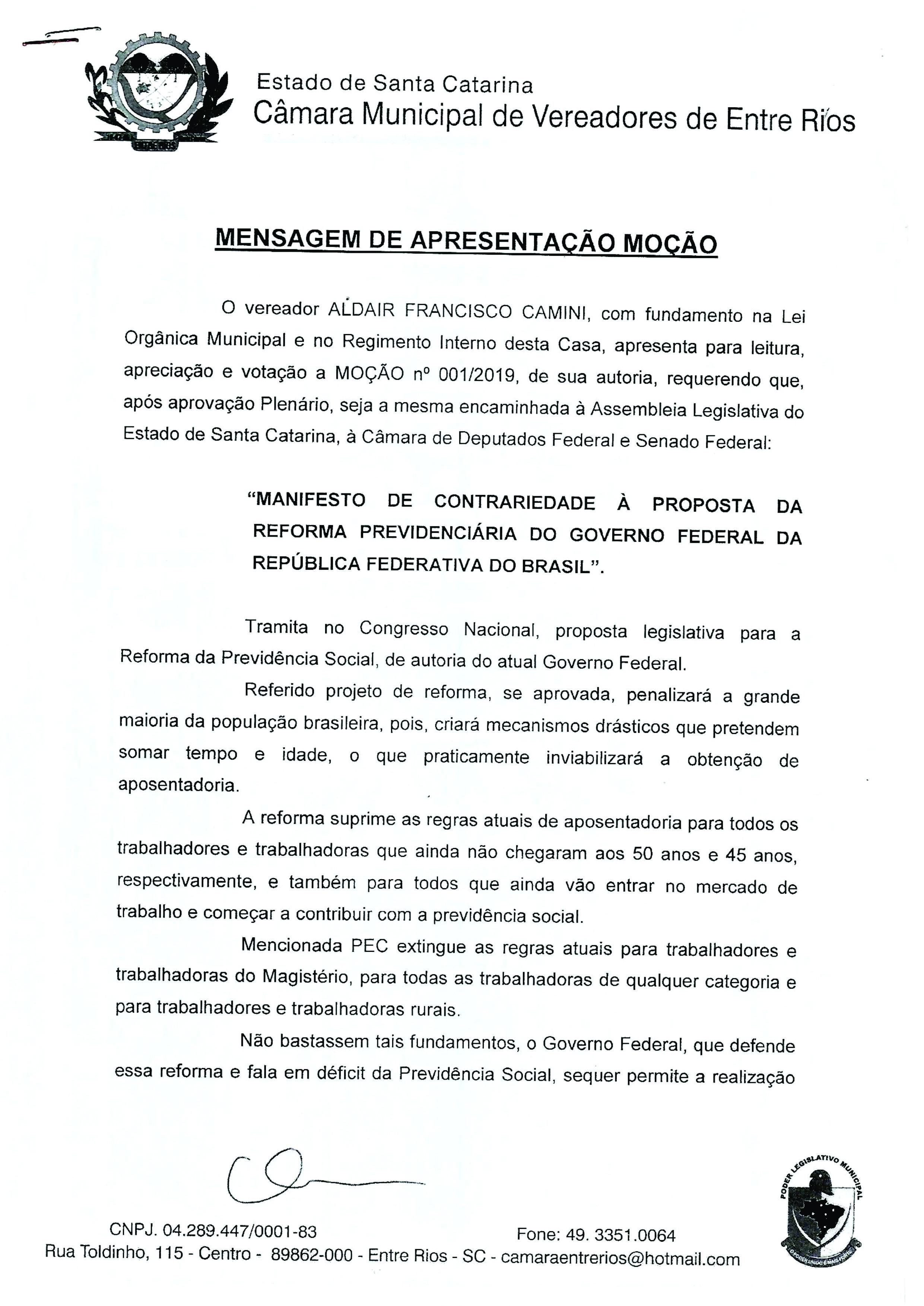 Câmara de Vereadores de Entre Rios aprova Moção contra a Reforma da Previdência