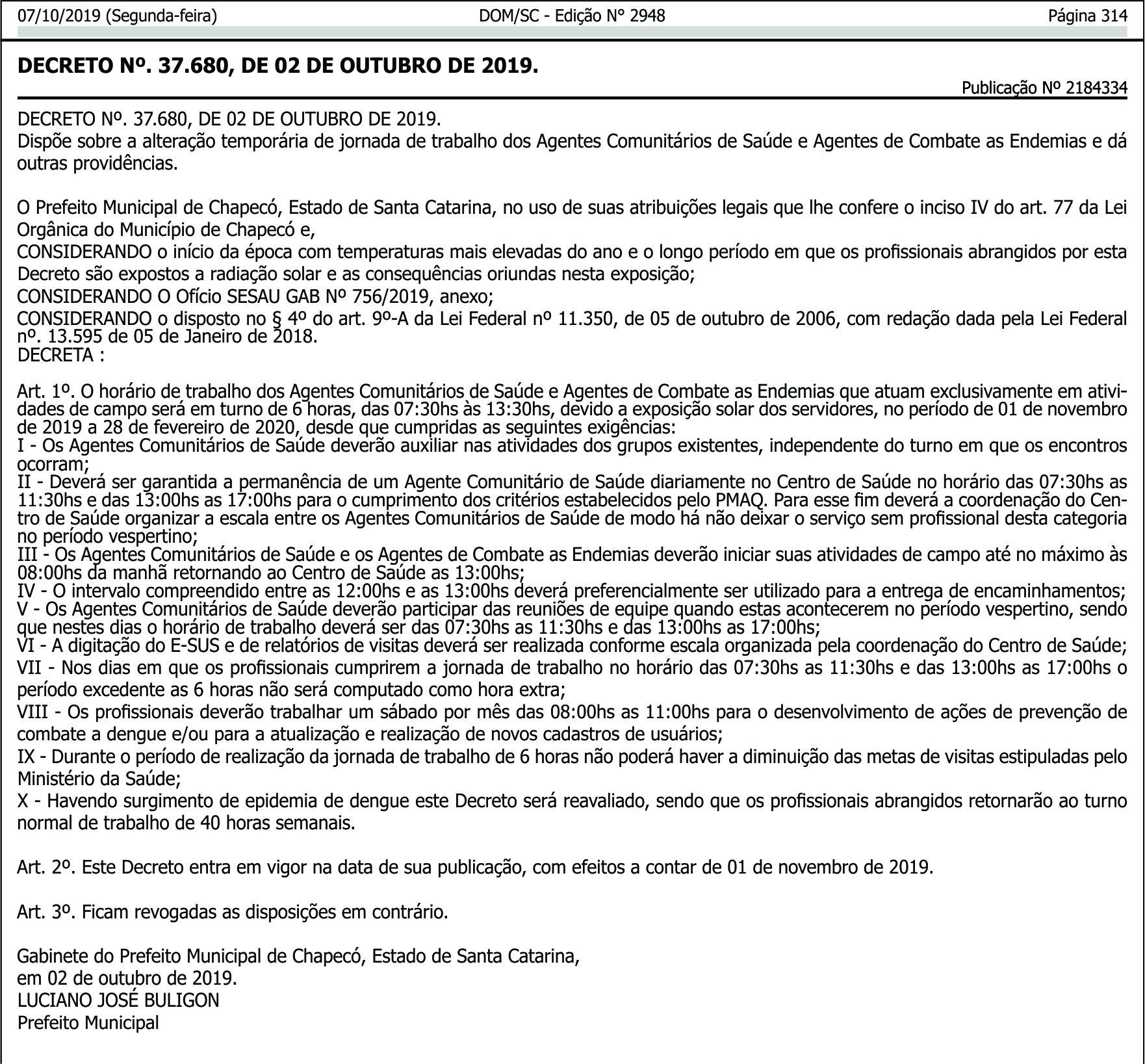 Decreto do Horário Especial de Verão para as ACSs e ACEs da prefeitura de Chapecó