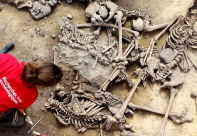 Ossadas encontradas no sítio arqueológico de Achenheim, no nordeste da França