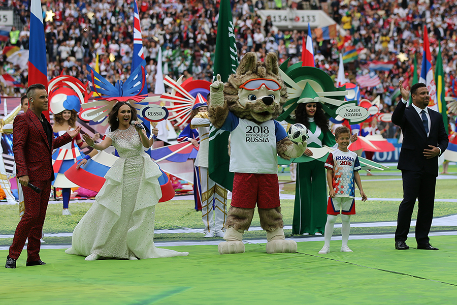 Mascote da Copa durante cerimônia de abertura