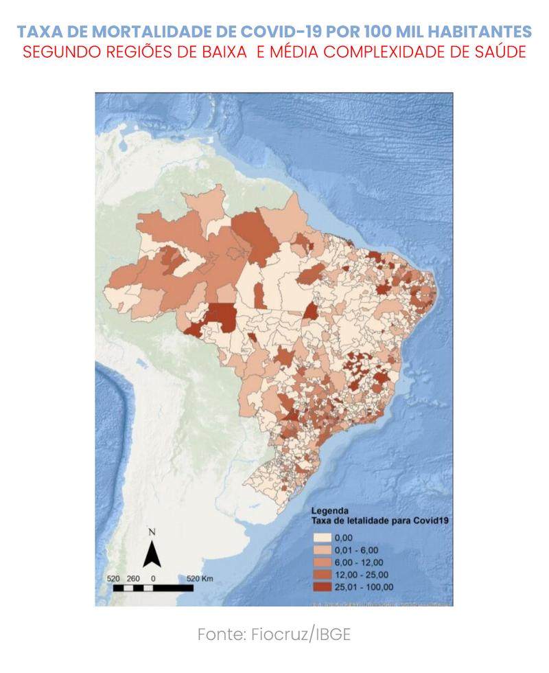 Taxa de mortalidade de Covid-19 por 100mil habitantes Imagem: Artes