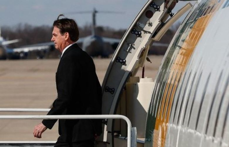 Presidente da República Jair Bolsonaro desembarca na Base Aérea de Andrews. Foto: Alan Santos/PR