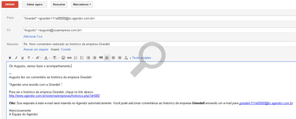 Respondendo emails de notificação