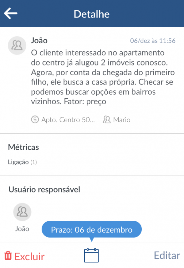 Histórico do cliente na versão mobile