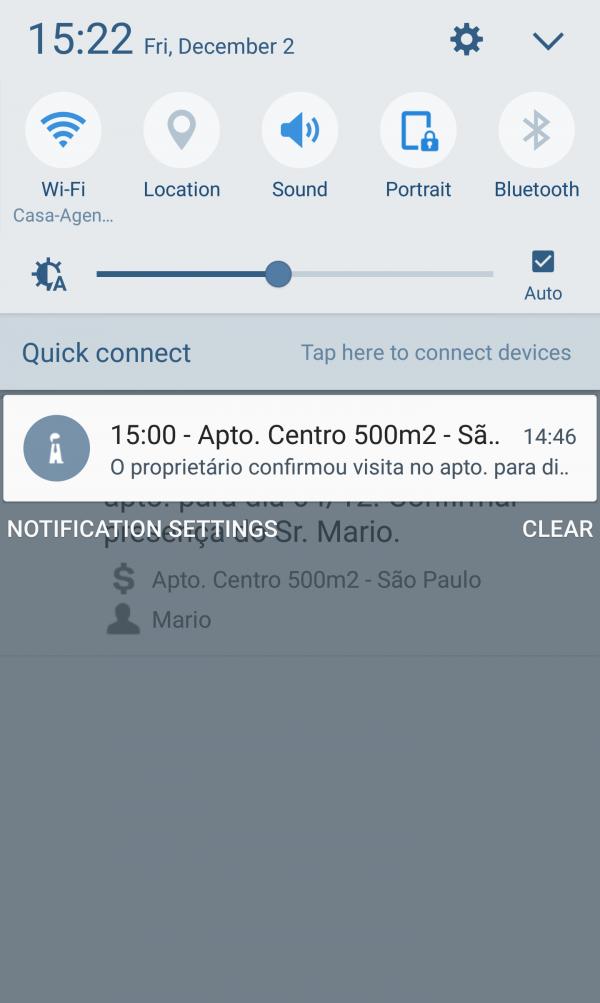 Lembrete de tarefa Agendor versão mobile