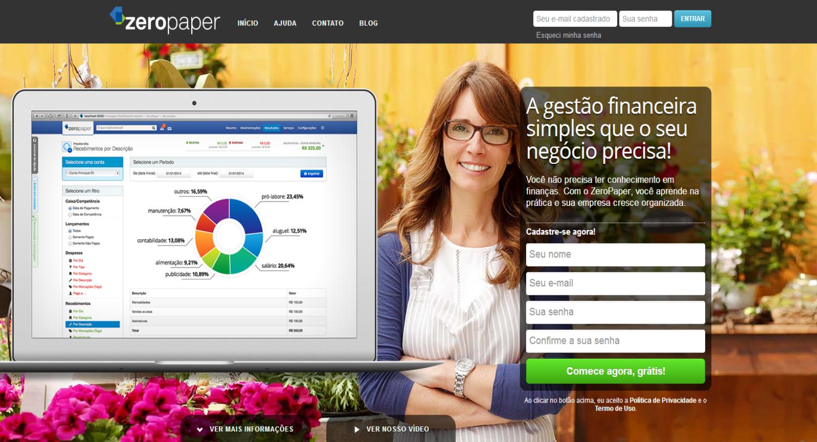 ZeroPaper promete controle financeiro simples ao seu negócio.