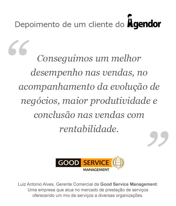 Depoimento de um cliente do Agendor: Good Service Management