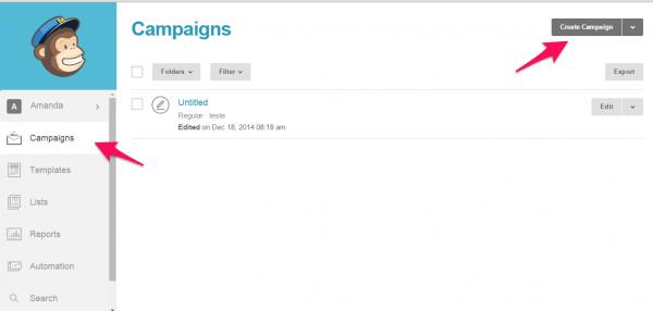 criando campanha no mailchimp