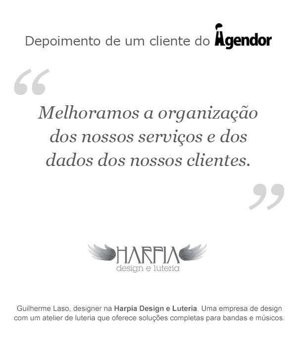 Depoimento de um cliente do Agendor: Harpia Design e Luteria