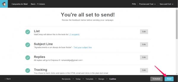 tela enviar email