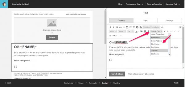 tela personalizando email com nome