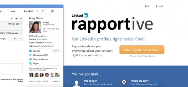 Rapportive é uma ótima ferramenta para se conectar com o que seus contatos fazem nas mídias sociais.