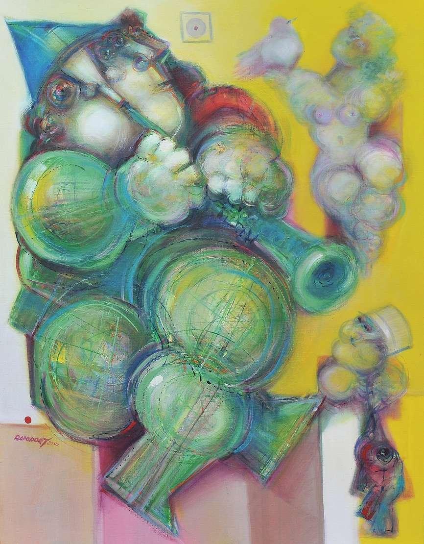 """Alexandre Rapoport (1929), Uma pequena sonata, 2010 - Acrílica s/ tela<br>Ass. inf. esquerdo e verso<br>Participou da Exposição """"O Som do Desenho"""" realizada em novembro de 2011, organizada pela TNT..."""