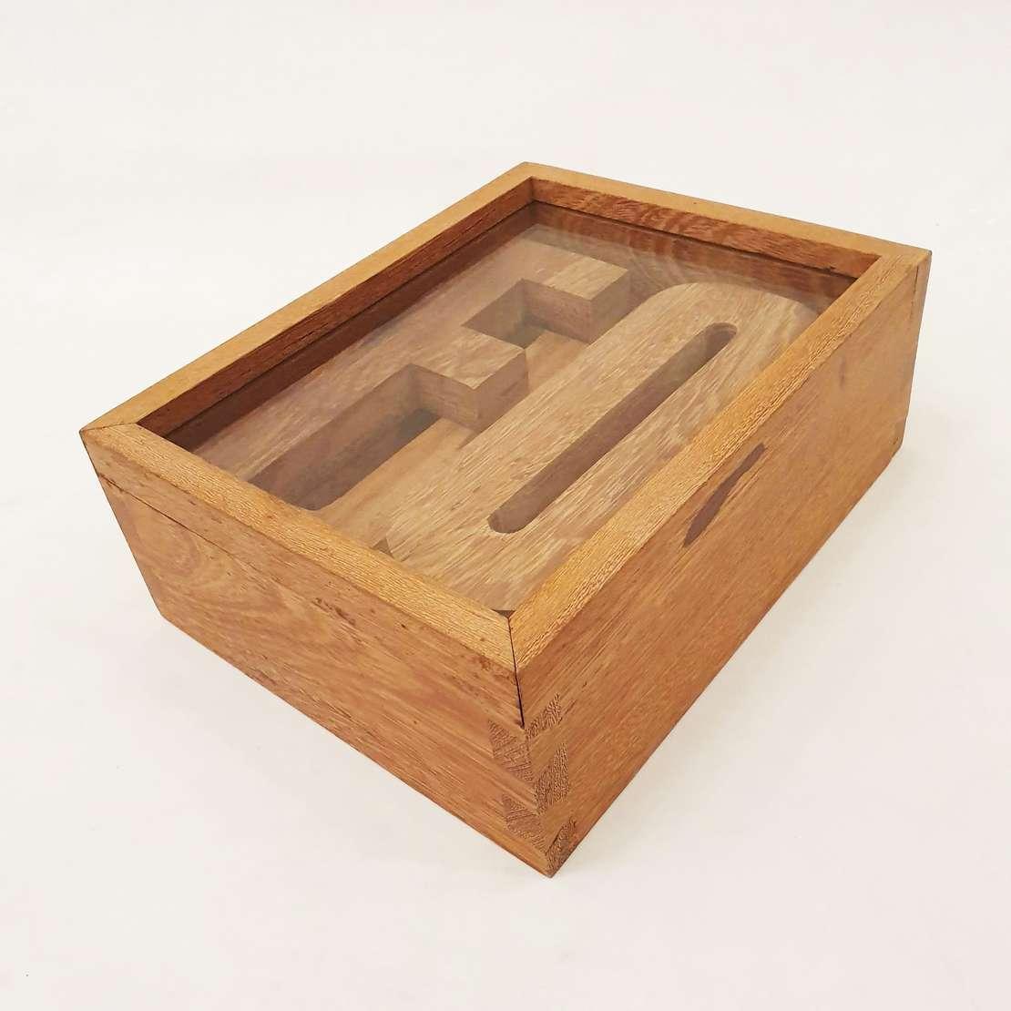 """Raul Mourão (1967), Foda-se, 1996-2002 - Objeto para instalçao comosto por letras recortadas de madeira que formam a palavra """" FODA-SE"""" desmontadas em caixa de madeira.<br>Medida apresentada"""
