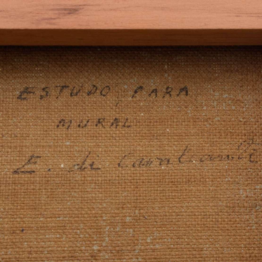 Di Cavalcanti (1897-1976), Estudo para Mural - Óleo s/ tela<br>Ass. inf. direito e verso<br>