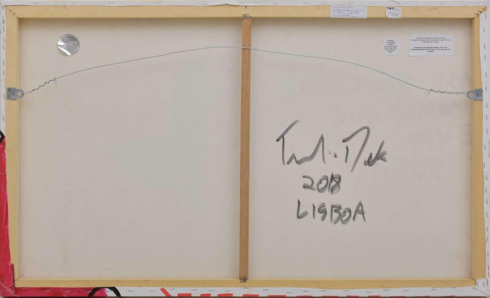 """Tulio Dek (1985), Esperança, 2018 - Acrílica e caneta s/ tela<br>Assinado, datado e localizado no verso.<br>Apresenta selo da Galeria TNT, e etiquetas das exposição """"Reflexo"""" realizada n"""