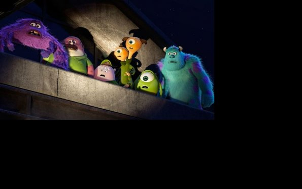 "Mike, Sulley y sus compañeros de universidad en ""Monsters University""."