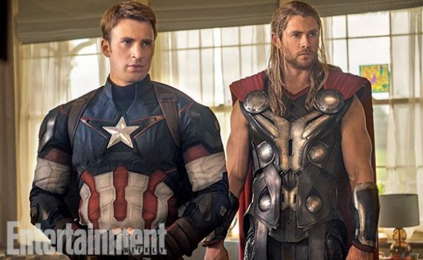 "Chris Evans y Chris Hemsworth en ""Avengers: Age of Ultron""."