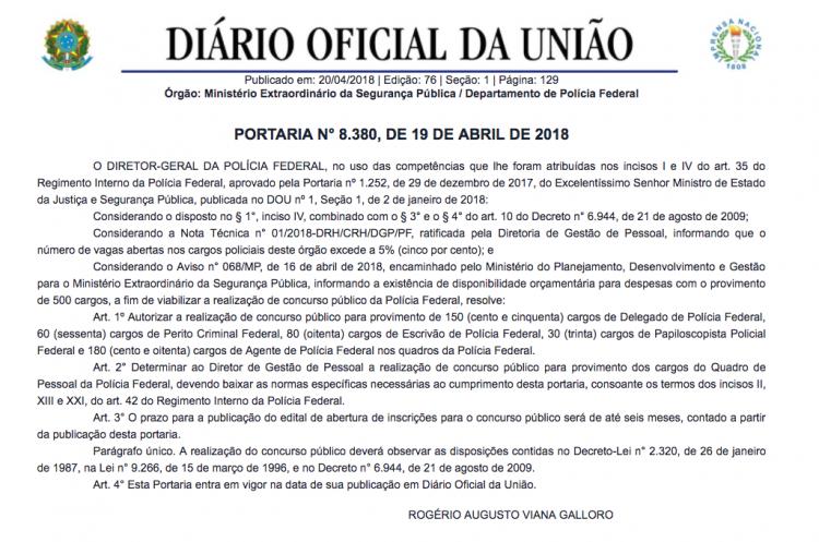 concurso-pf-2018-autorização-dou-portaria