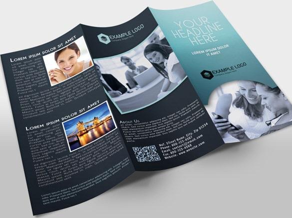 Brochura Tri-Fold de Cor Escura