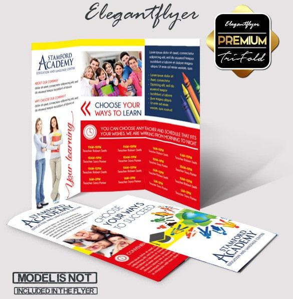 Download Modelo Brochura de Idiomas PSD Tri-Fold Grátis