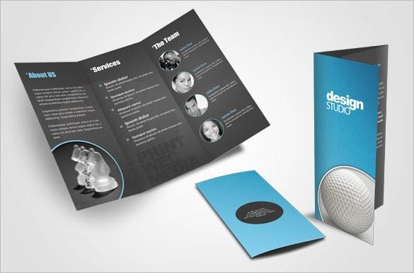 Layout de Design de Brochura Tri-fold Criativo para Agência