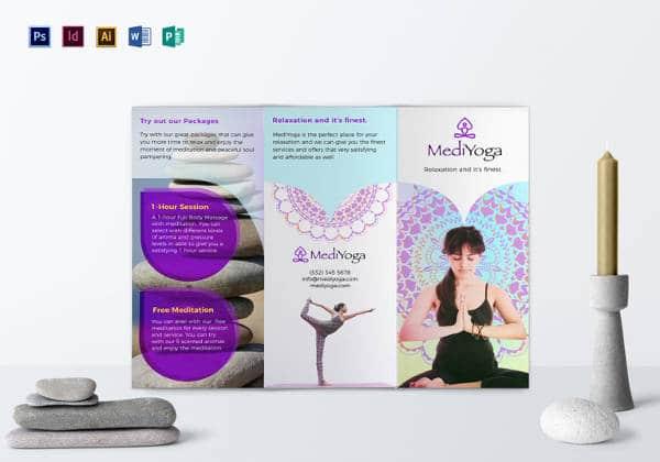 Modelo Brochura fácil de editar aula de yoga