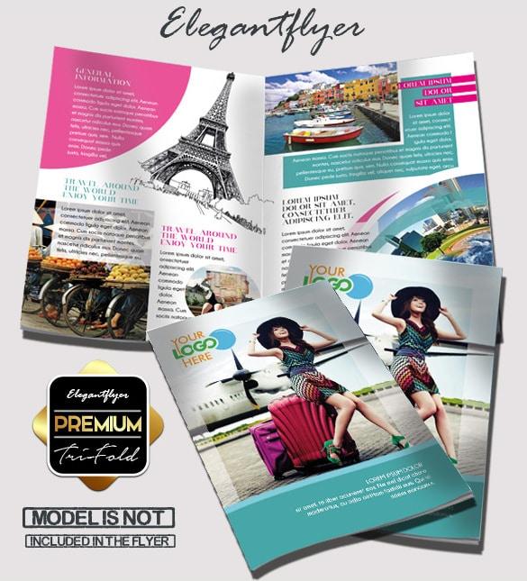Viagem Grátis PSD Bi-fold Folheto de Modelo de apresentação