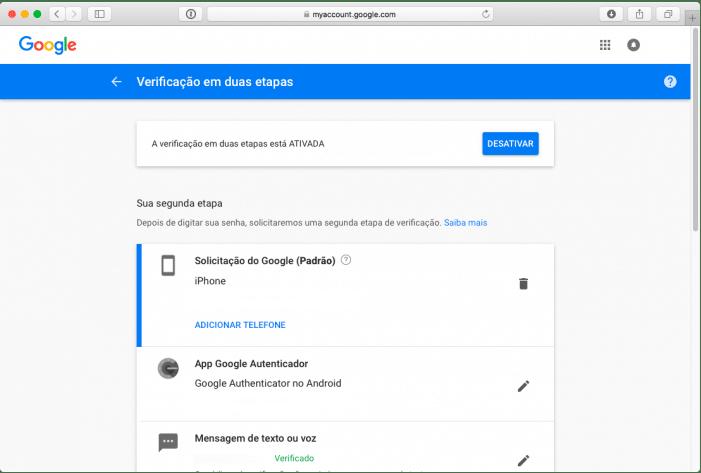 google verificação de duas etapas