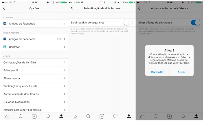 como fazer para autenticar a conta no instagram