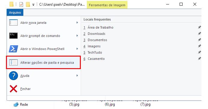acesse as opcoes de pasta windows 10 problemas com imagens