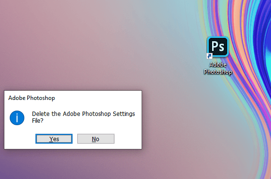 resetar adobe photoshop