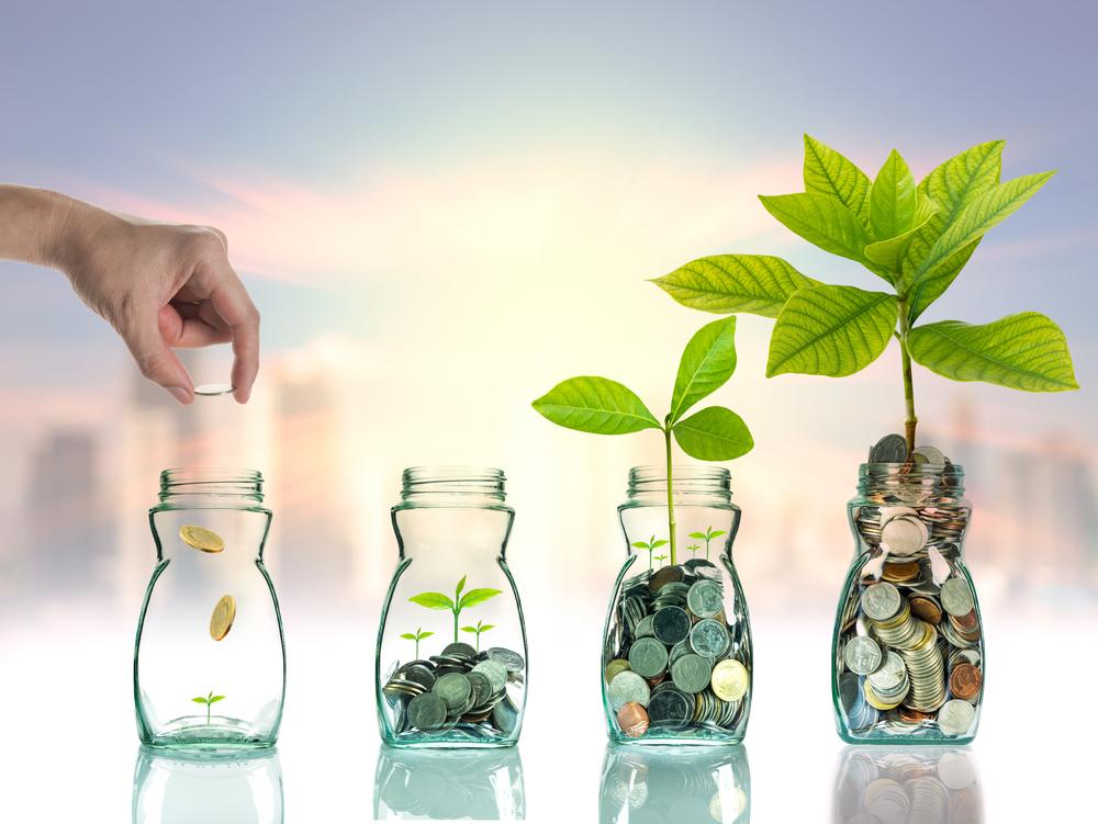 Mão colocando moedas em vasos crescendo plantas