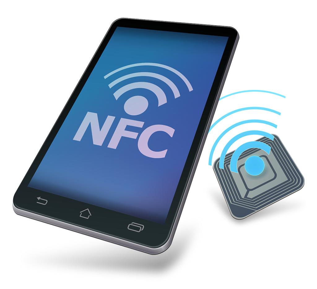 um celular com a sigla NFC escrita na tela