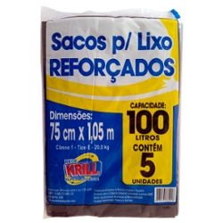 SACO LIXO REDE KRILL REFORCADO 100l C/5un